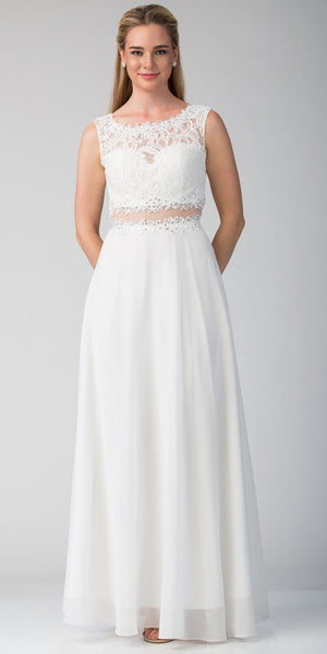 Image of Mock Two Piece Lace Bodice Floor Length Prom Dress in White