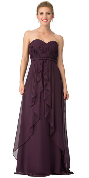 Image of Strapless Shirred Bust Ruffled Skirt Long Bridesmaid Dress in Egg Plant