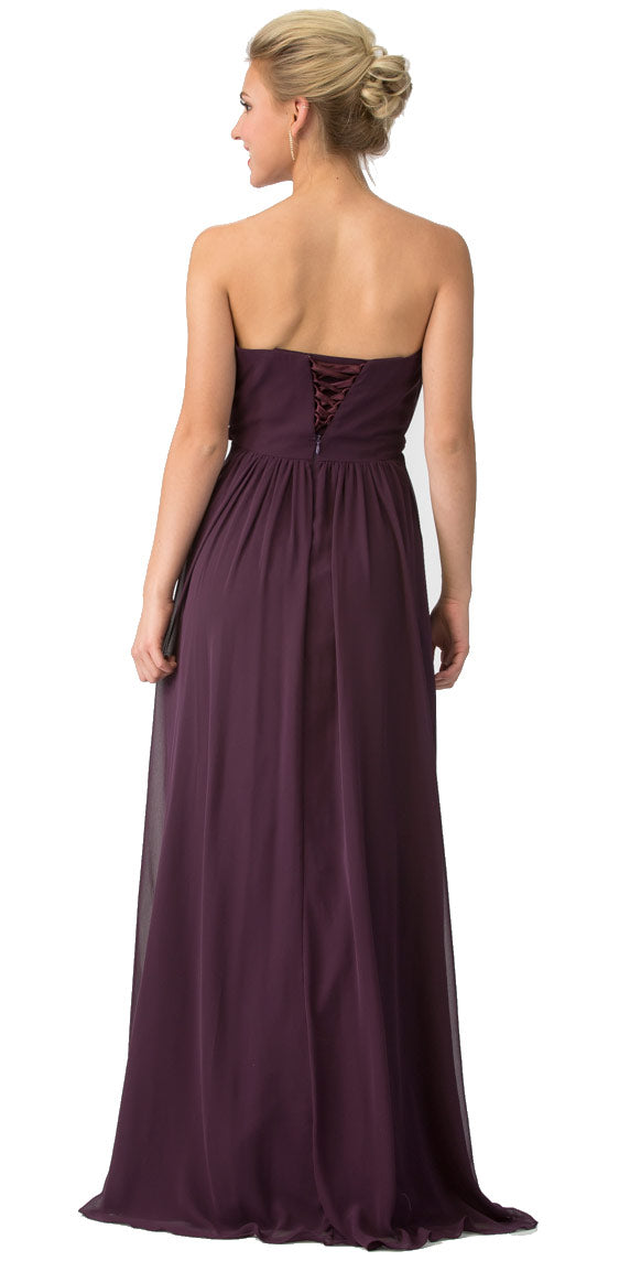 Image of Strapless Shirred Bust Ruffled Skirt Long Bridesmaid Dress back in Eggplant