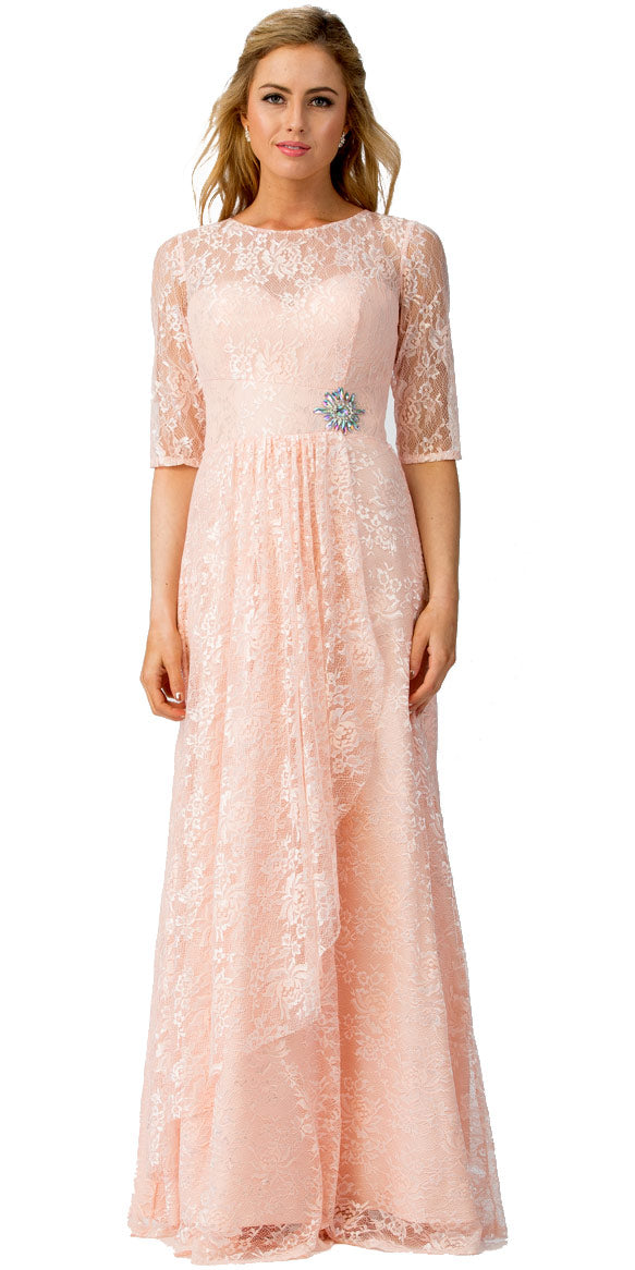 Main image of Round Neck Half Sleeves Floral Mesh Long Bridesmaid Dress