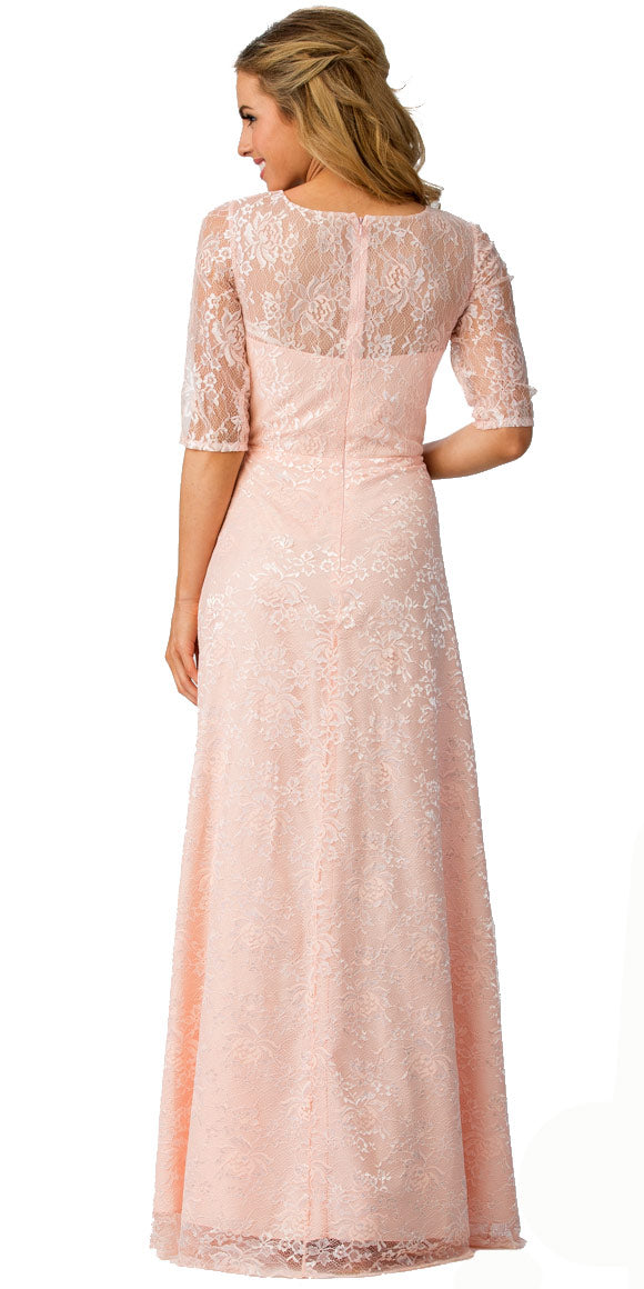 Back image of Round Neck Half Sleeves Floral Mesh Long Bridesmaid Dress