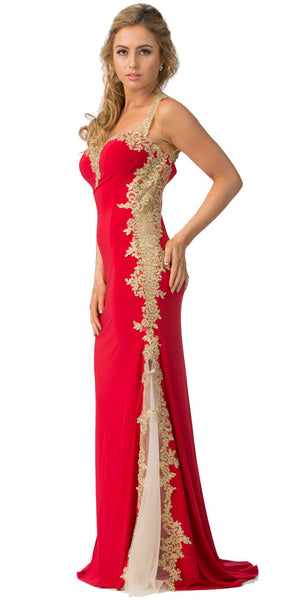 Image of Sweetheart Neck Lace & Mesh Embellishments Long Prom Dress in an alternative image