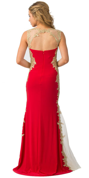 Back image of Sweetheart Neck Lace & Mesh Embellishments Long Prom Dress