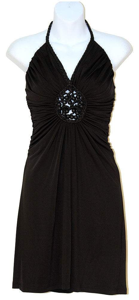 Image of Halter Neck Party Dress With Front Keyhole in Black