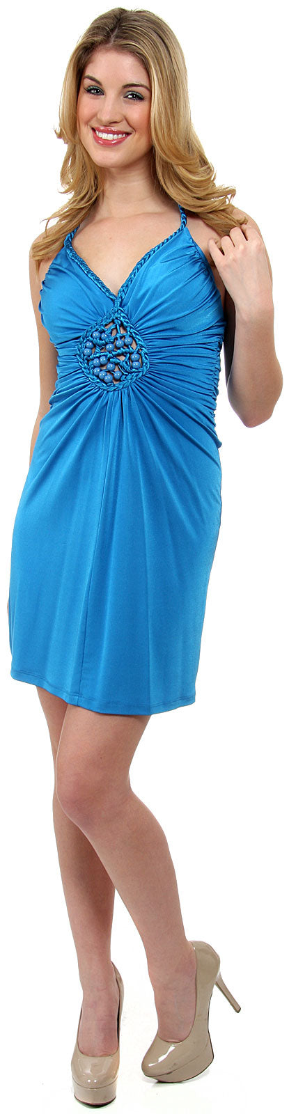 Main image of Halter Neck Party Dress With Front Keyhole