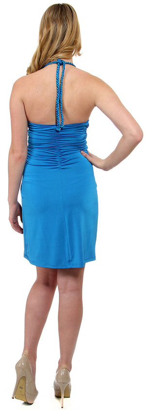 Back image of Halter Neck Party Dress With Front Keyhole