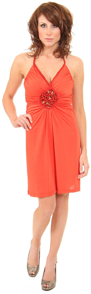 Image of Halter Neck Party Dress With Front Keyhole in Orange