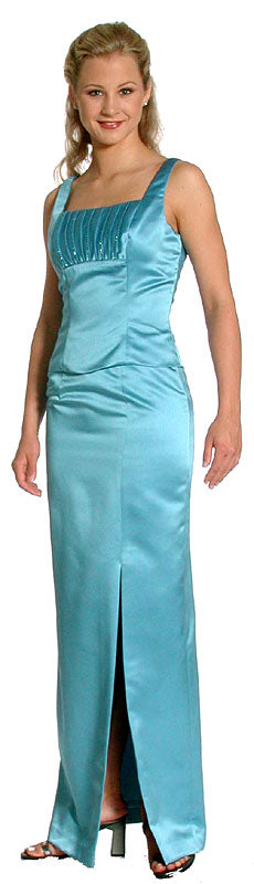 Image of Satin Beaded Full Length Bridesmaid Dress in Carribean Blue