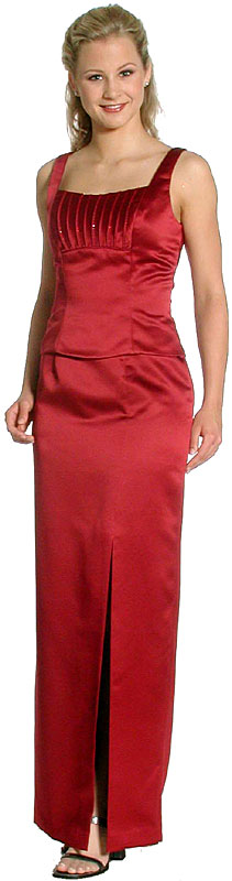 Image of Satin Beaded Full Length Bridesmaid Dress in Dark Red color