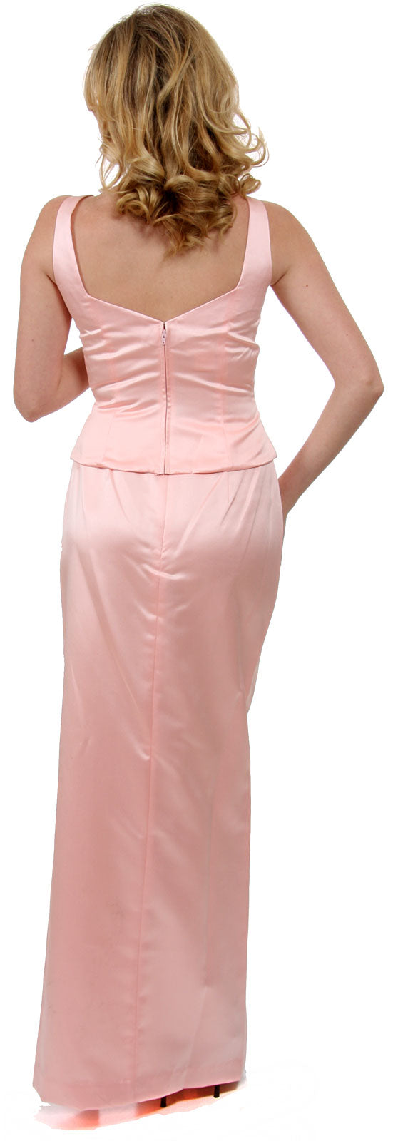 Back image of Satin Beaded Full Length Bridesmaid Dress