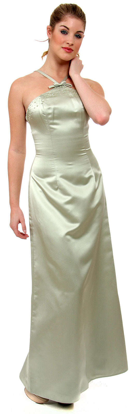 Main image of Crossed Front Beaded Evening Dress