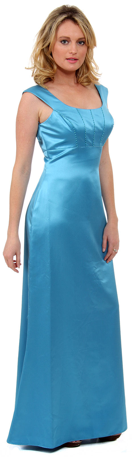 Image of Boat Neck Beaded Bridesmaid Dress in Carribean Blue