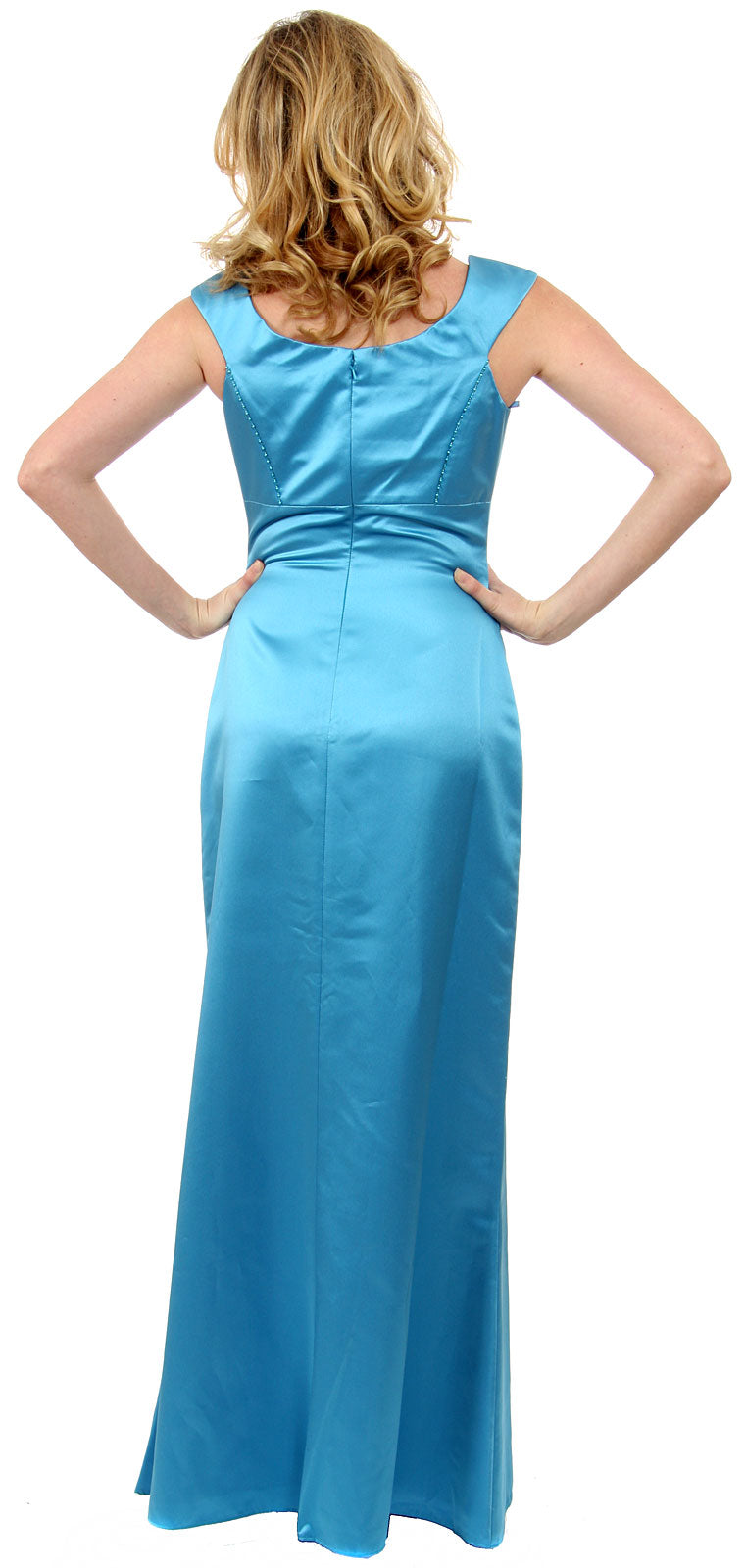 Image of Boat Neck Beaded Bridesmaid Dress back in Carribean Blue