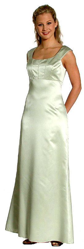 Image of Boat Neck Beaded Bridesmaid Dress in Green