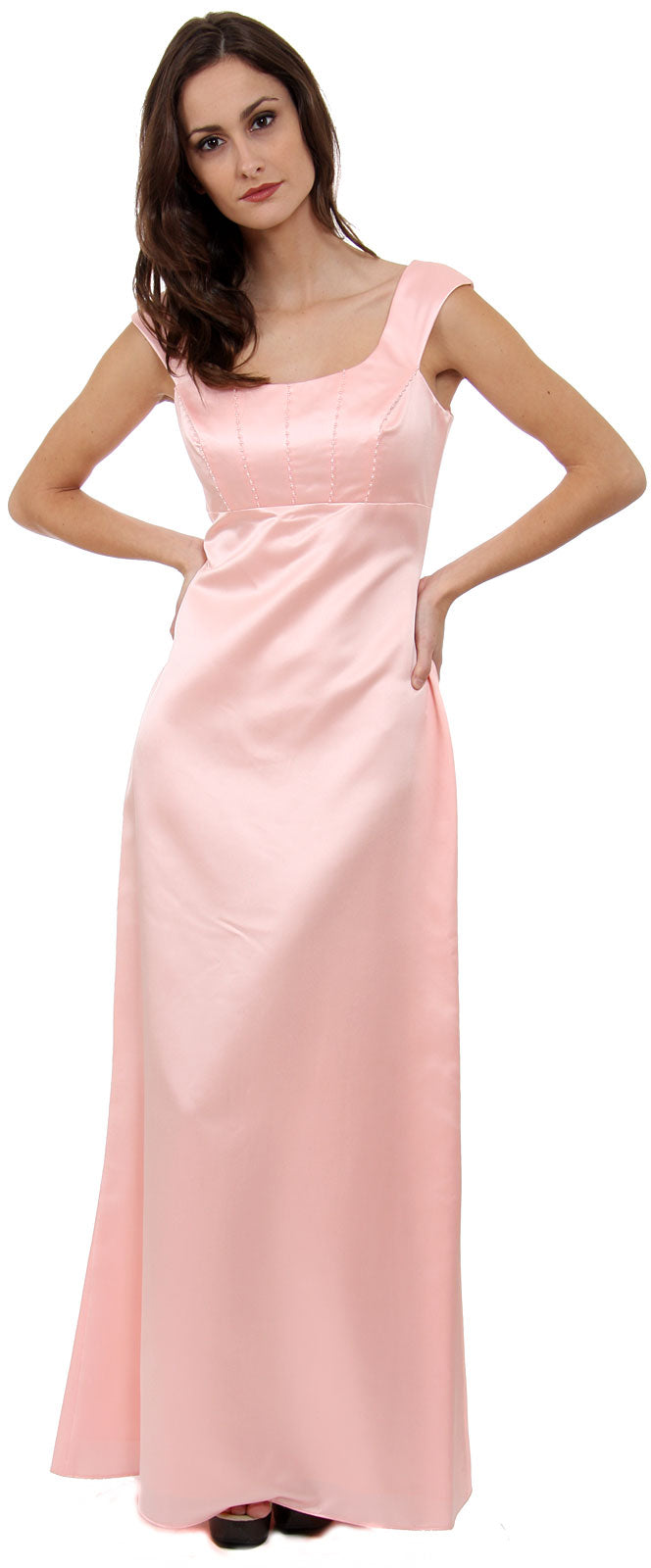 Main image of Boat Neck Beaded Bridesmaid Dress