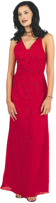 Image of Beaded Formal Full Length Evening Dress in Red color