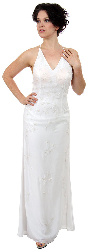 Image of Beaded Formal Full Length Evening Dress in White color