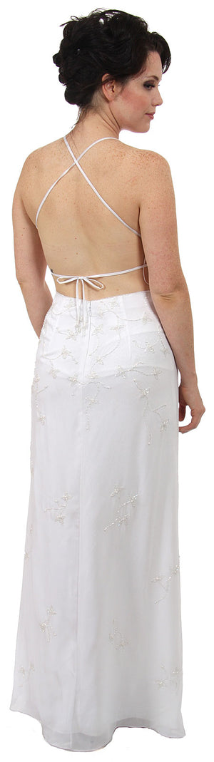 Image of Beaded Formal Full Length Evening Dress in White