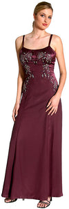 Main image of Criss Crossed Beaded Full Length Evening Dress