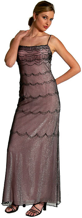 Main image of Metallic Poly Net Beaded Formal Dress