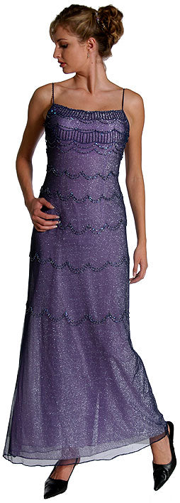 Image of Metallic Poly Net Beaded Formal Dress in Nite/Blue Orchid color