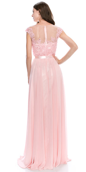 Back image of Round Neck Embroidered Lace Mesh Top Long Prom Dress