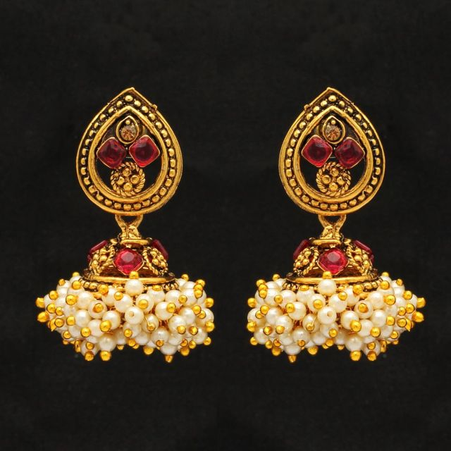 Red Color Glass Stone Antique Earrings (ANTE211RED)