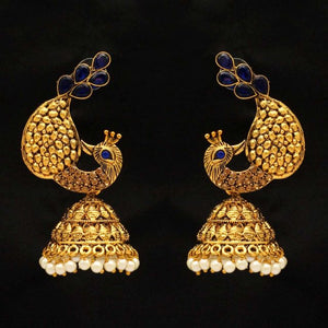 Blue Color Kundan Antique Earrings (ANTE231BLU)