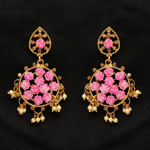Pink Color Rhinestone Antique Earrings (ANTE263PNK)