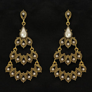 White Color Rhinestone Antique Earrings (ANTE273WHT)
