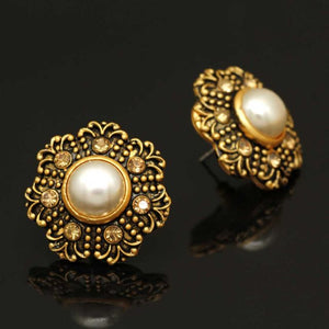Gold Color Rhinestone Antique Earrings (ANTE282GLD)
