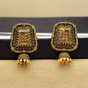 Gold Color Rhinestone Antique Earrings (ANTE289GLD)