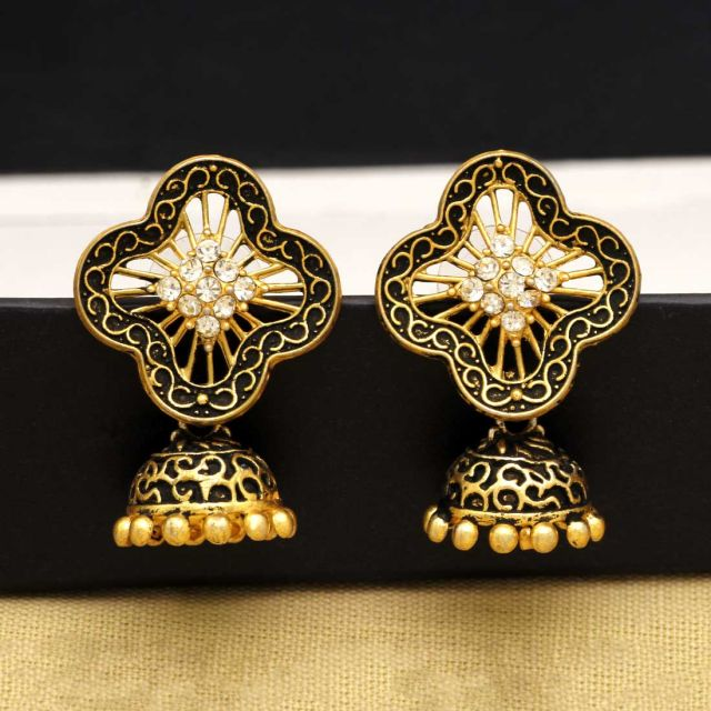 Gold Color Rhinestone Antique Earrings (ANTE294GLD)