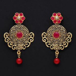 Maroon Color Glass Stone Antique Earrings (ANTE304MRN)