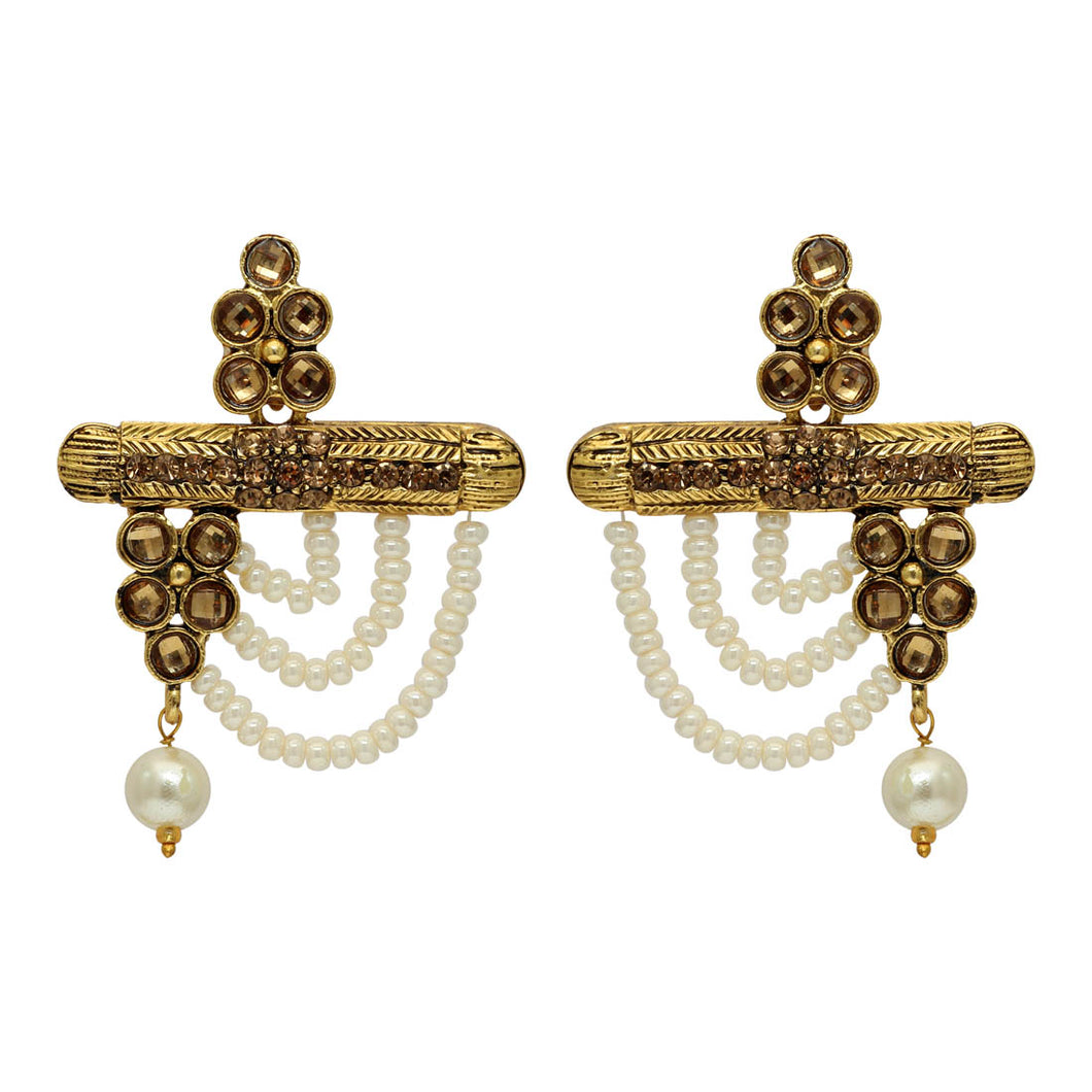 Gold Color Antique Statement Earrings