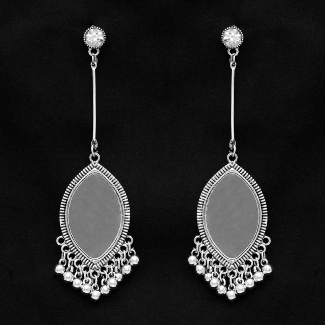 Silver Color Mirror Work Oxidised Earrings (GSE1031SLV)