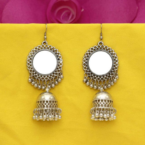 Silver Color Mirror Work Oxidised Earrings (GSE1047SLV)
