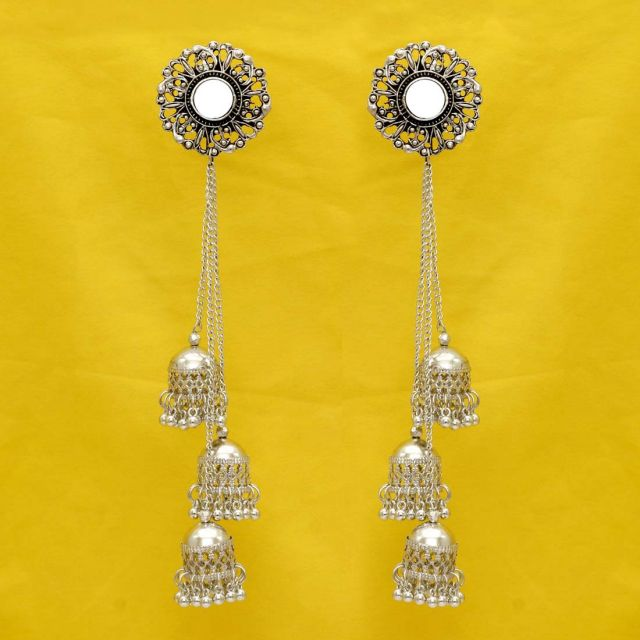 Silver Color Mirror Work Oxidised Jhumka Earrings (GSE1054SLV)