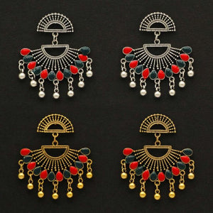 Multi Color 2 Pairs Of Oxidised Earrings (GSE1108CMB)