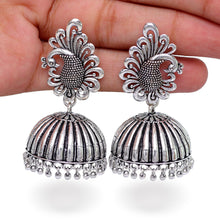 Load image into Gallery viewer, Bollywood Style Peacock Inspired Silver Jhumkas