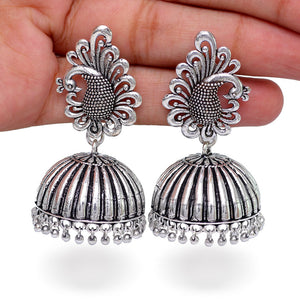 Bollywood Style Peacock Inspired Silver Jhumkas