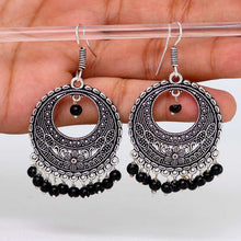 Load image into Gallery viewer, Black Bead Dangle Earrings