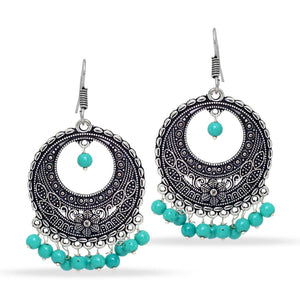 Silver Tone Oxidised Aqua Bead Earrings