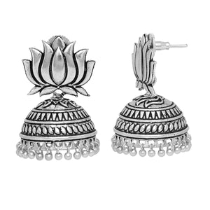 German Silver Plated Oxidised Jhumkas