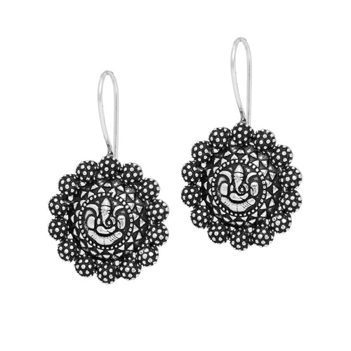 Oxidized German Silver Ganesha Styled Drop Earrings