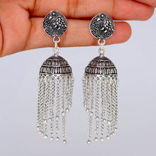 Load image into Gallery viewer, Peacock Stud Spiral Silver Oxidised Jhumka Earrings