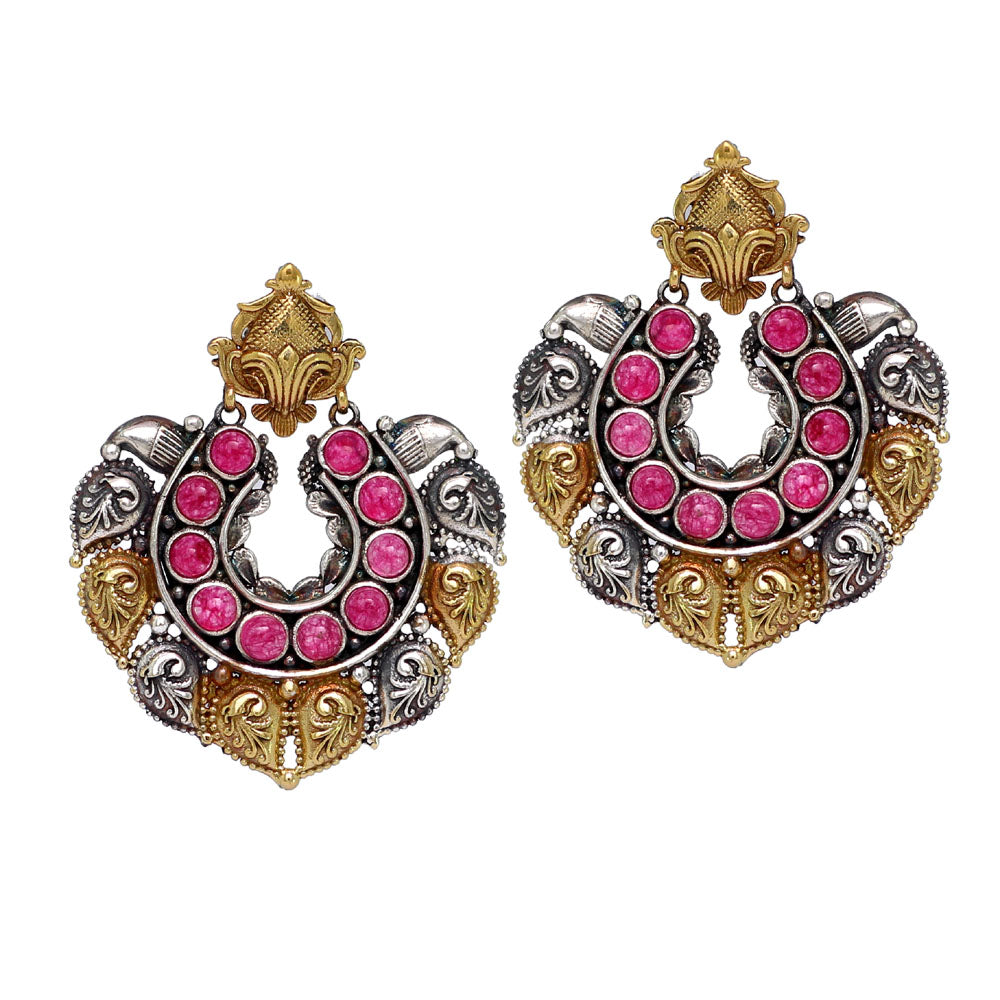 Two Tone Pink Color Oxidized Earrings