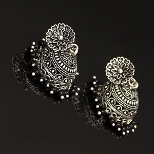 Oxidised Silver Plated Black Color Brass Earrings