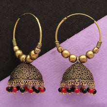 Load image into Gallery viewer, Maroon & Black Traditional Jhumka Earrings