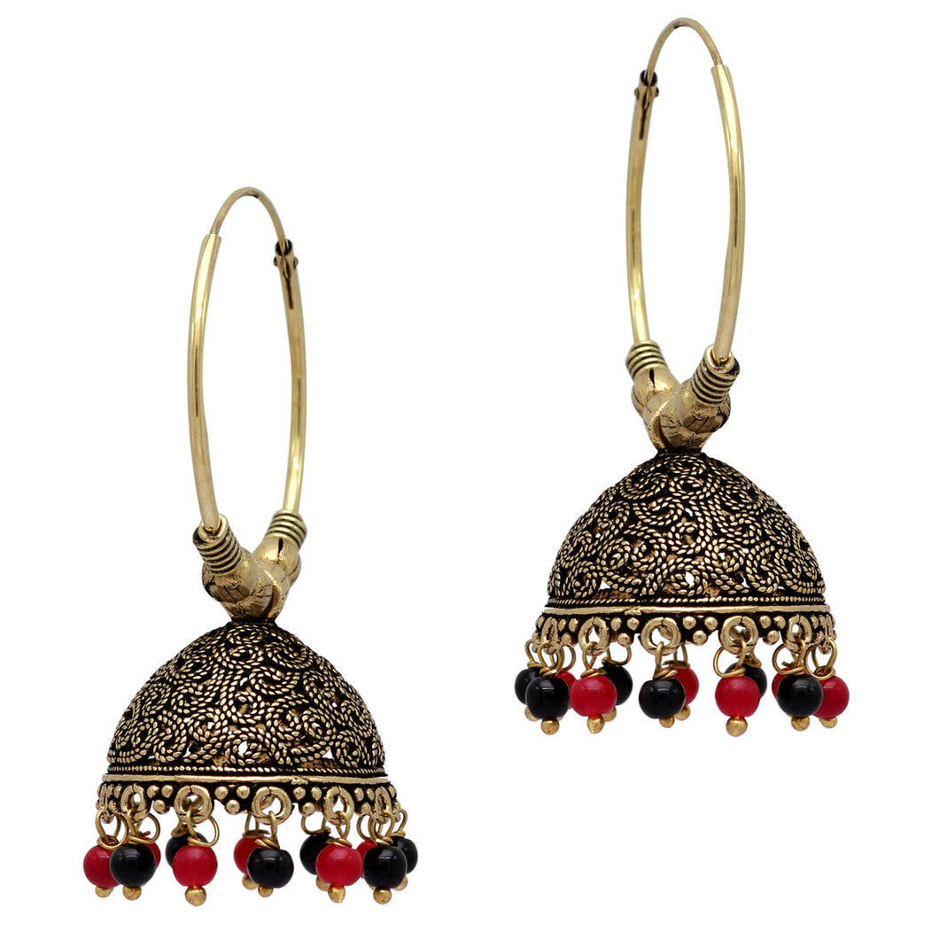 Maroon & Black Traditional Jhumka Earrings
